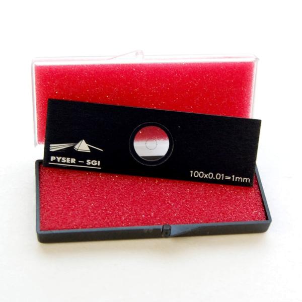 Objektträger-Mikrometer für Durchlicht (Länge: 1 mm, Unterteilung: 0,01 mm)