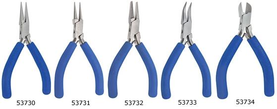Set aus Präzisions Zangen und Seitenschneider mit Griff aus Weichschaum