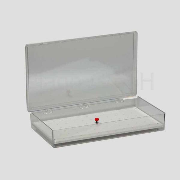 Polystyrol-Schachtel für 74 Stiftprobenteller mit entnehmbarer Platte