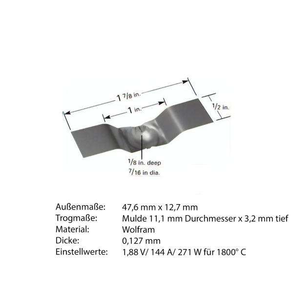 Heiz-Schiffchen mit Trog aus Wolfram