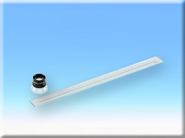 Glas-Messskala mit x15 Lupe (ABVERKAUF)
