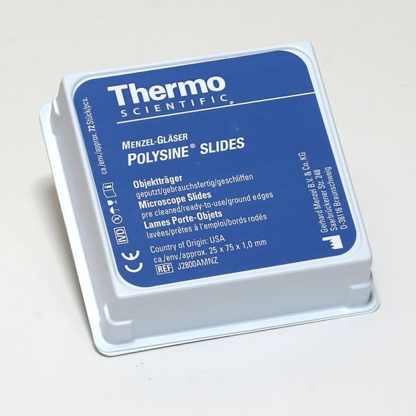 Polysine Adhäsionsobjektträger mit weißem Beschriftungsfeld (PLANO-Multipack)