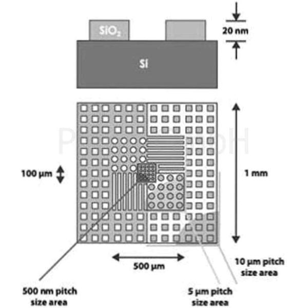 AFM Kalibrierstandard für XYZ-Achse auf 12 mm ø AFM-Scheibe