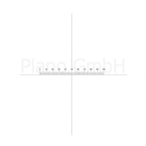 Strichplatte (Mikrometer + Kreuzungslinie), Skala: 10 mm / 0,1 mm