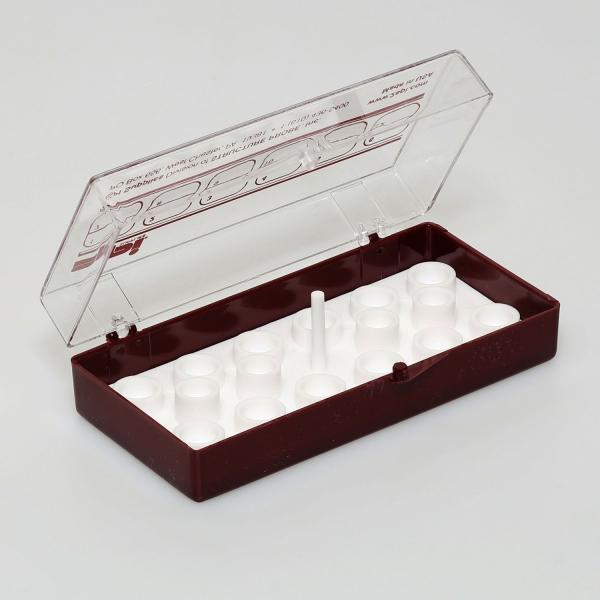 Aufbewahrungsschachtel für 12 Stiftprobenteller mit je 12,5 mm Ø (PLANO-Multipack)