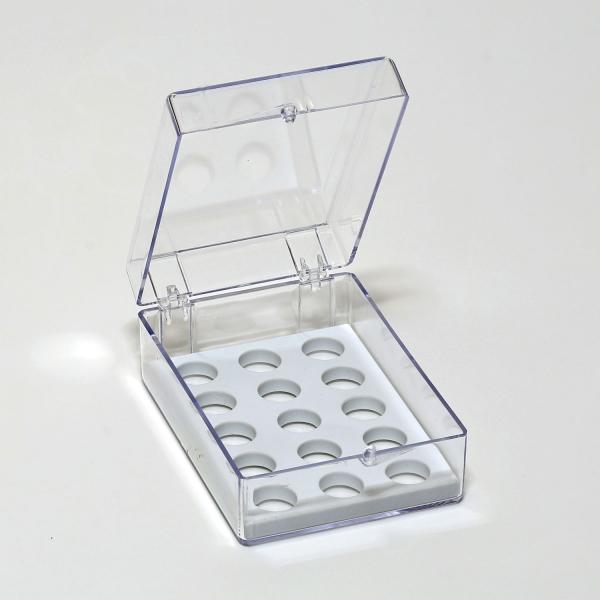 Aufbewahrungsschachtel für 15 zylindrische Probenträger (JEOL)
