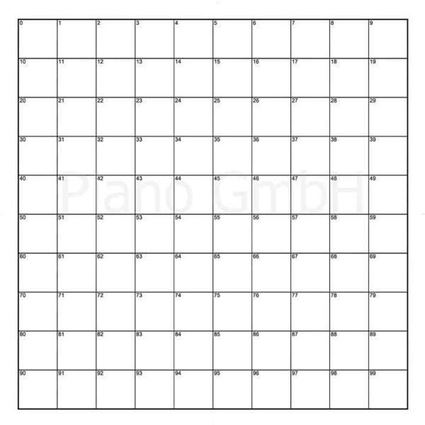 Strichplatte (mit Quadraten - innen indiziert)