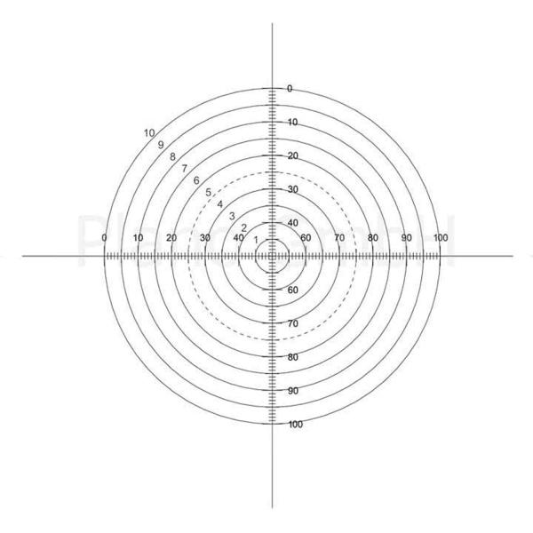 Strichplatte (10 Konzentrische Kreise mit Fadenkreuz und abgestuften Querskalen)