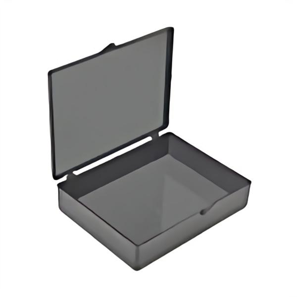 Schwarze Polystyrol-Schachtel mit schwarzem Scharnierdeckel