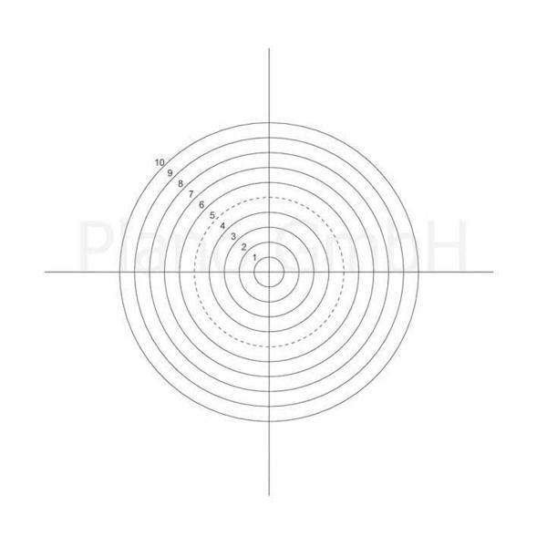 Strichplatte (10 Konzentrische Kreise mit Fadenkreuz)