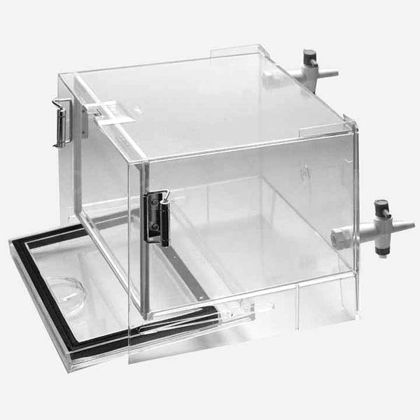 Exsikkator-Behälter mit 2 Gasanschlüssen (transparent, stapelbar)