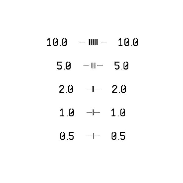 CD Kalibrierstrukturen (CRITICAL DIMENSION) 10-5-2-1-0,5 µm
