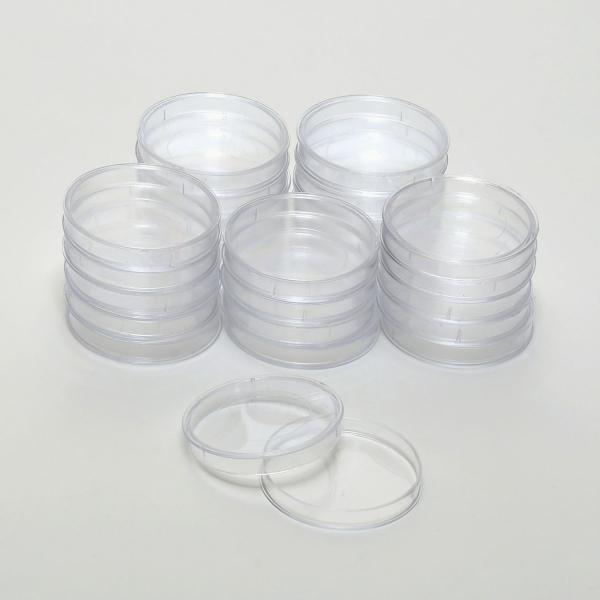 Runde Polystyrol-Dosen mit Griffrand-Deckel, klar