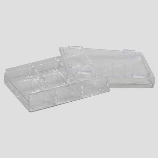 Kleine Plastikschachteln mit Fächern