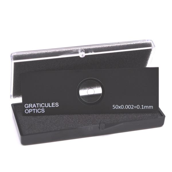 Gekreuzte Objektträger-Mikrometer für Durchlicht (Länge: 0,1 mm, Unterteilung: 0,002 mm)