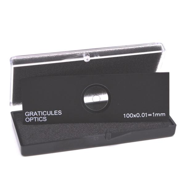 Gekreuzte Objektträger-Mikrometer für Durchlicht (Länge: 1 mm, Unterteilung: 0,01 mm)