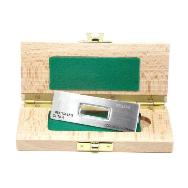 Objektträger-Mikrometer für Durchlicht (Länge: 20 mm, Unterteilung: 0,01 mm)